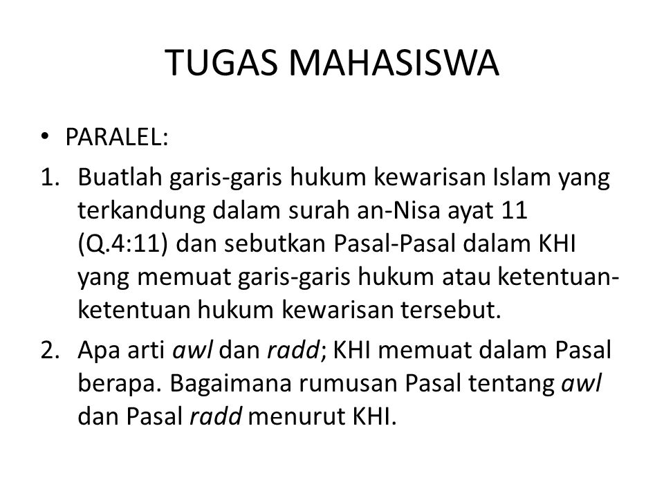 TUGAS MAHASISWA PARALEL: