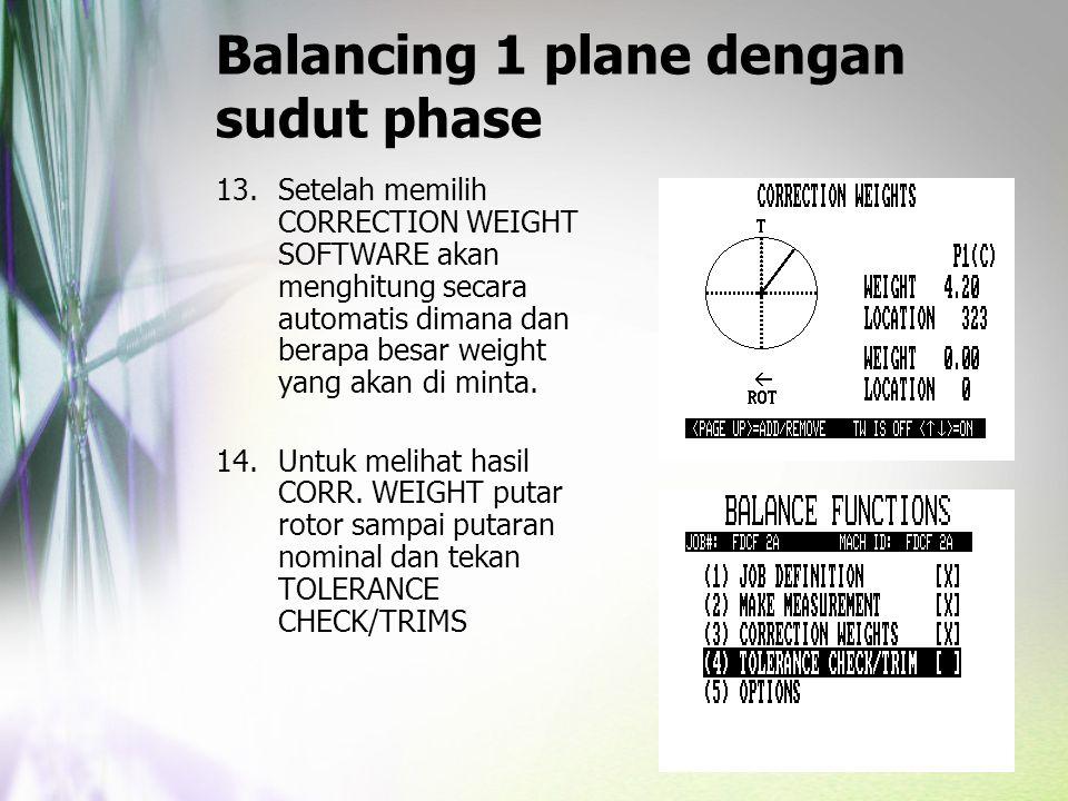 Balancing 1 plane dengan sudut phase