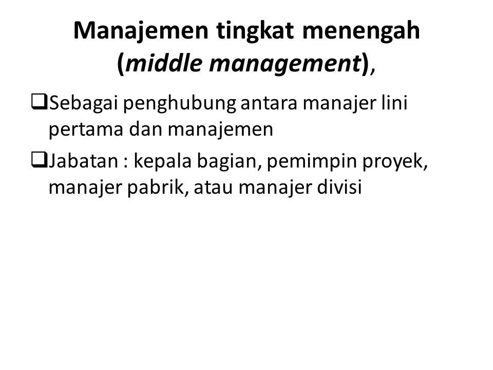 Manajemen tingkat menengah (middle management),