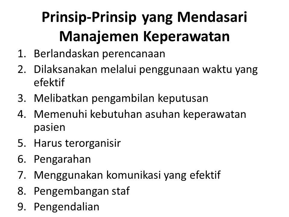 Prinsip-Prinsip yang Mendasari Manajemen Keperawatan