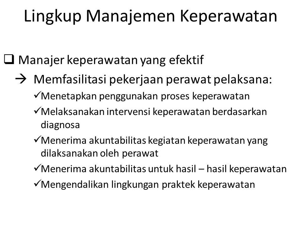 Lingkup Manajemen Keperawatan