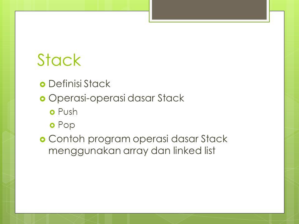 Stack Definisi Stack Operasi-operasi dasar Stack