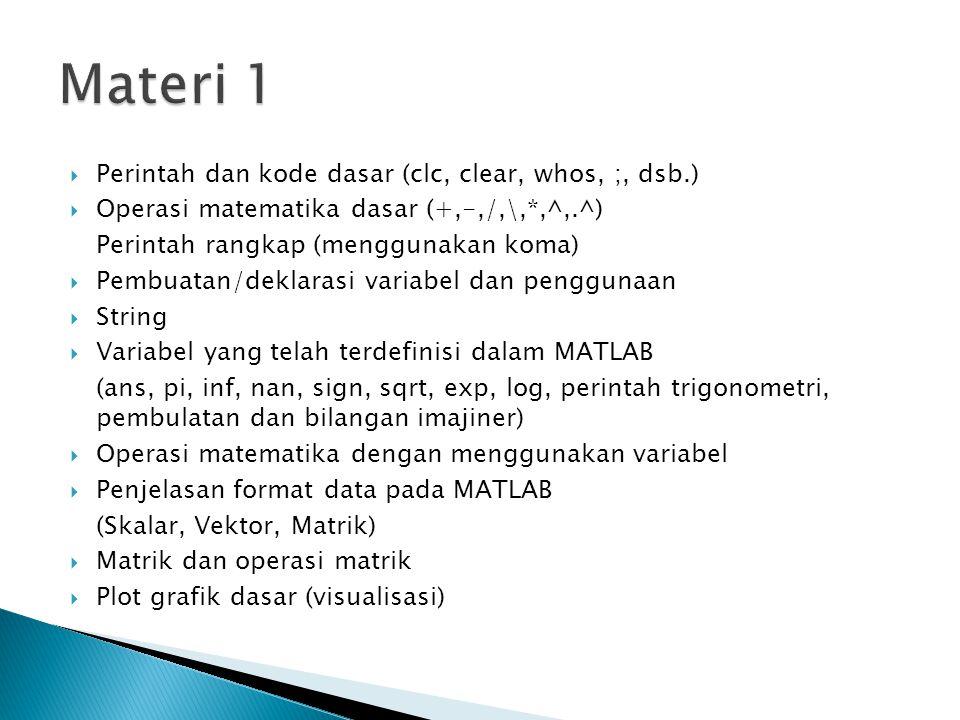 Materi 1 Perintah dan kode dasar (clc, clear, whos, ;, dsb.)