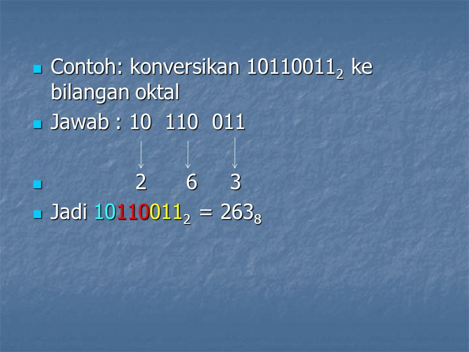 Contoh: konversikan 101100112 ke bilangan oktal