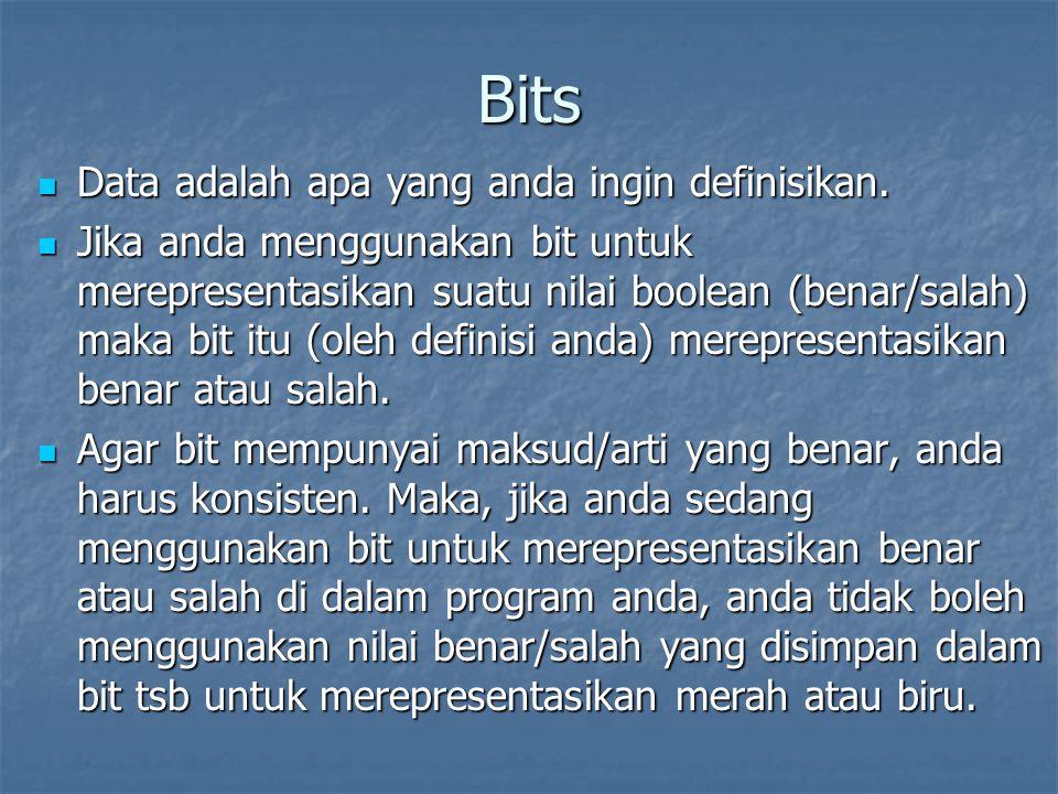 Bits Data adalah apa yang anda ingin definisikan.