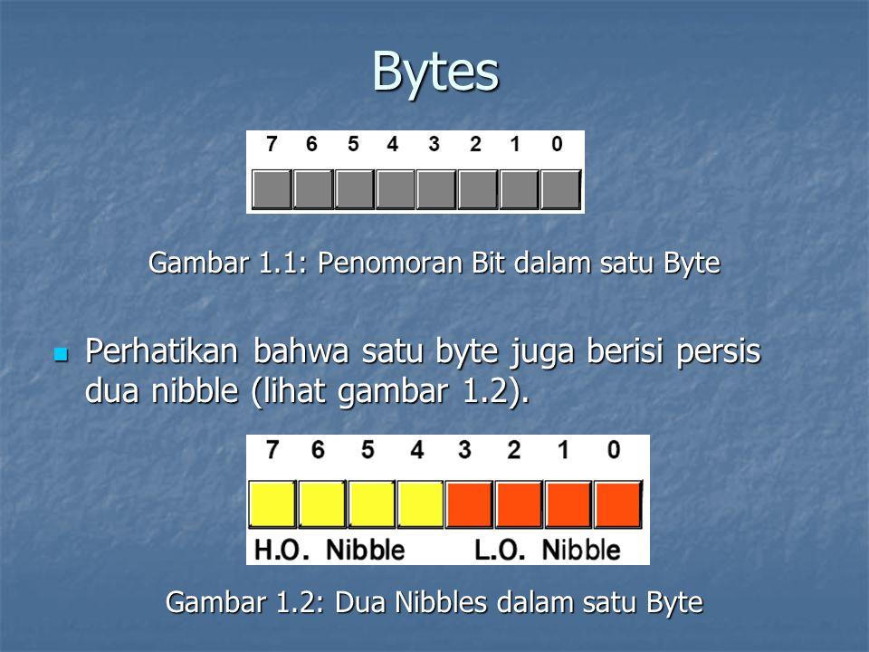 Bytes Gambar 1.1: Penomoran Bit dalam satu Byte. Perhatikan bahwa satu byte juga berisi persis dua nibble (lihat gambar 1.2).