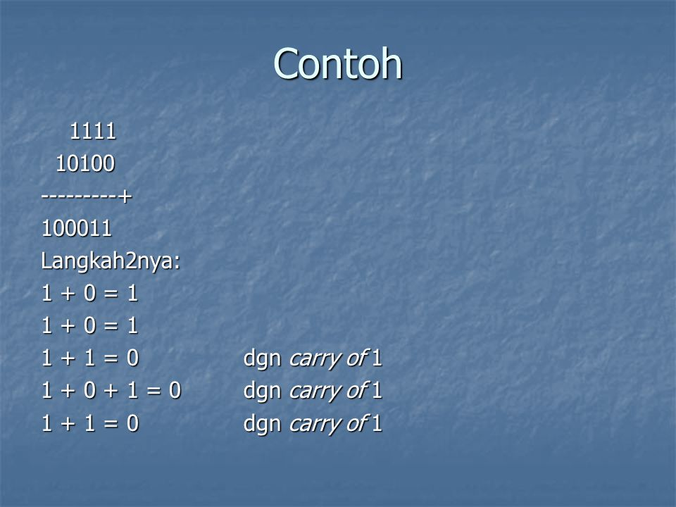 Contoh 1111 10100 ---------+ 100011 Langkah2nya: 1 + 0 = 1 1 + 1 = 0 dgn carry of 1 1 + 0 + 1 = 0 dgn carry of 1 1 + 1 = 0 dgn carry of 1