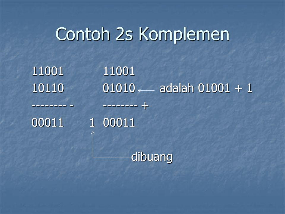 Contoh 2s Komplemen 11001 11001 10110 01010 adalah 01001 + 1 -------- - -------- + 00011 1 00011 dibuang