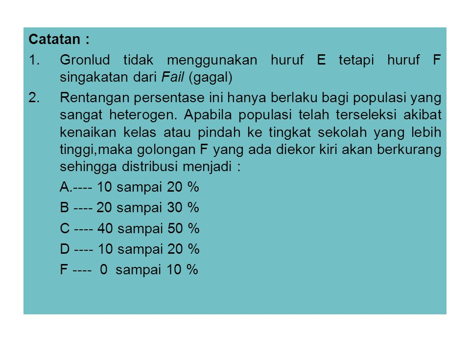 Catatan : Gronlud tidak menggunakan huruf E tetapi huruf F singakatan dari Fail (gagal)