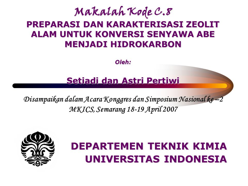 DEPARTEMEN TEKNIK KIMIA UNIVERSITAS INDONESIA