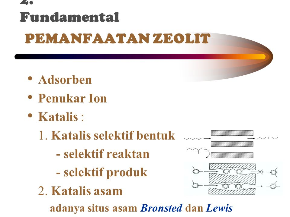 2. Fundamental PEMANFAATAN ZEOLIT Adsorben Penukar Ion Katalis :