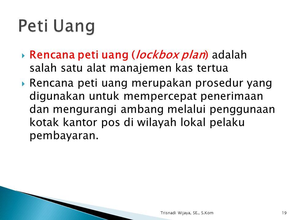Peti Uang Rencana peti uang (lockbox plan) adalah salah satu alat manajemen kas tertua.