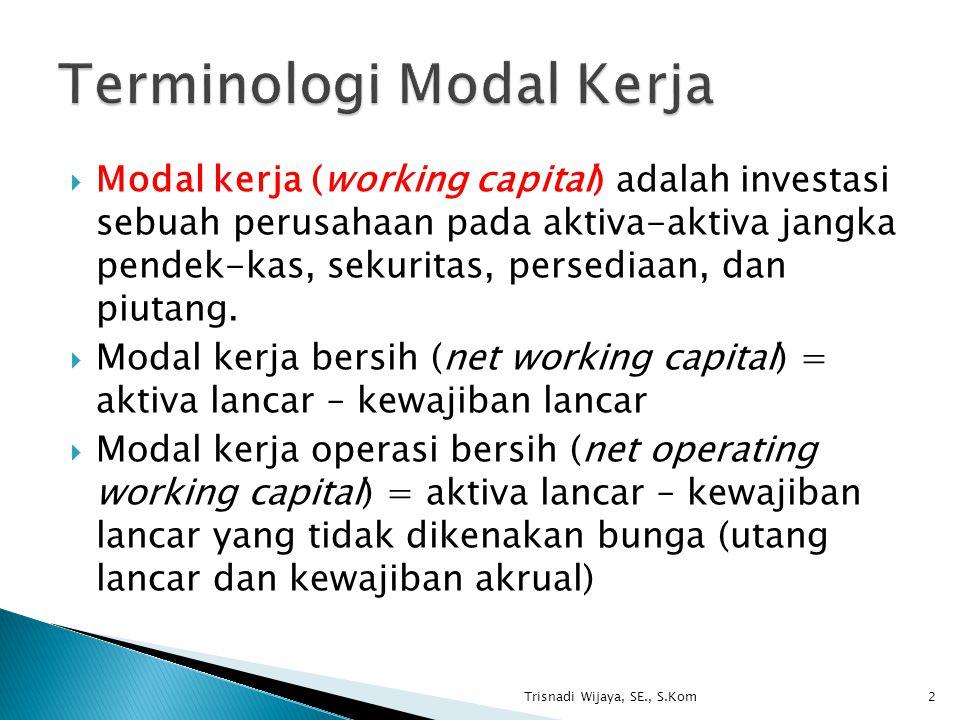Terminologi Modal Kerja