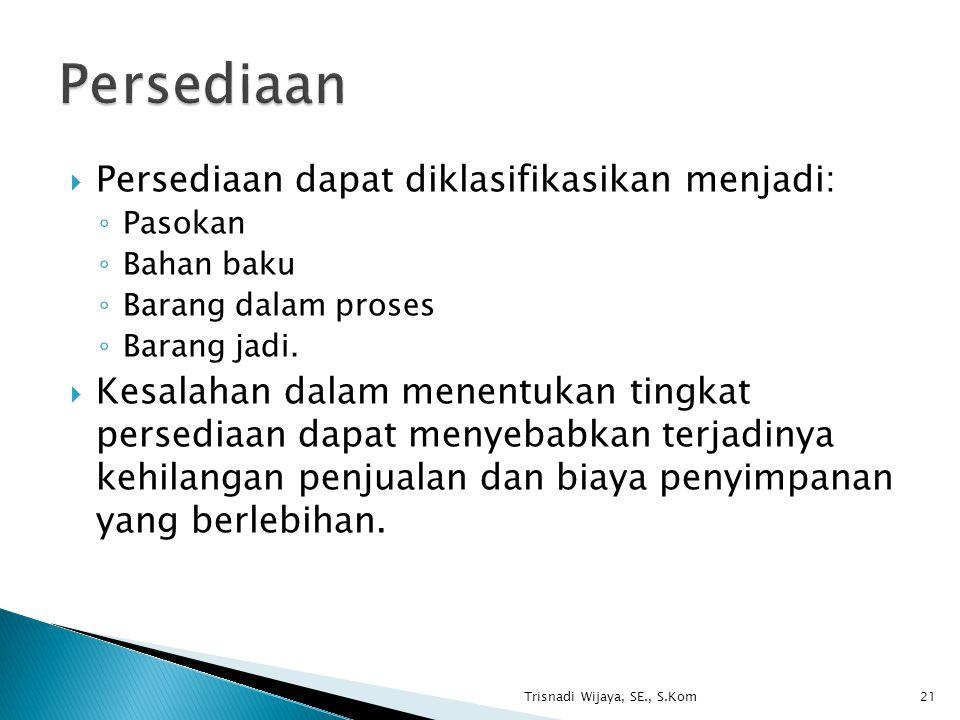 Persediaan Persediaan dapat diklasifikasikan menjadi: