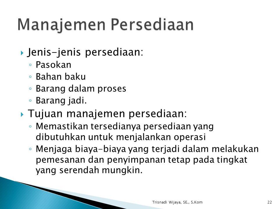 Manajemen Persediaan Jenis-jenis persediaan:
