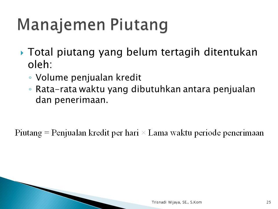 Manajemen Piutang Total piutang yang belum tertagih ditentukan oleh: