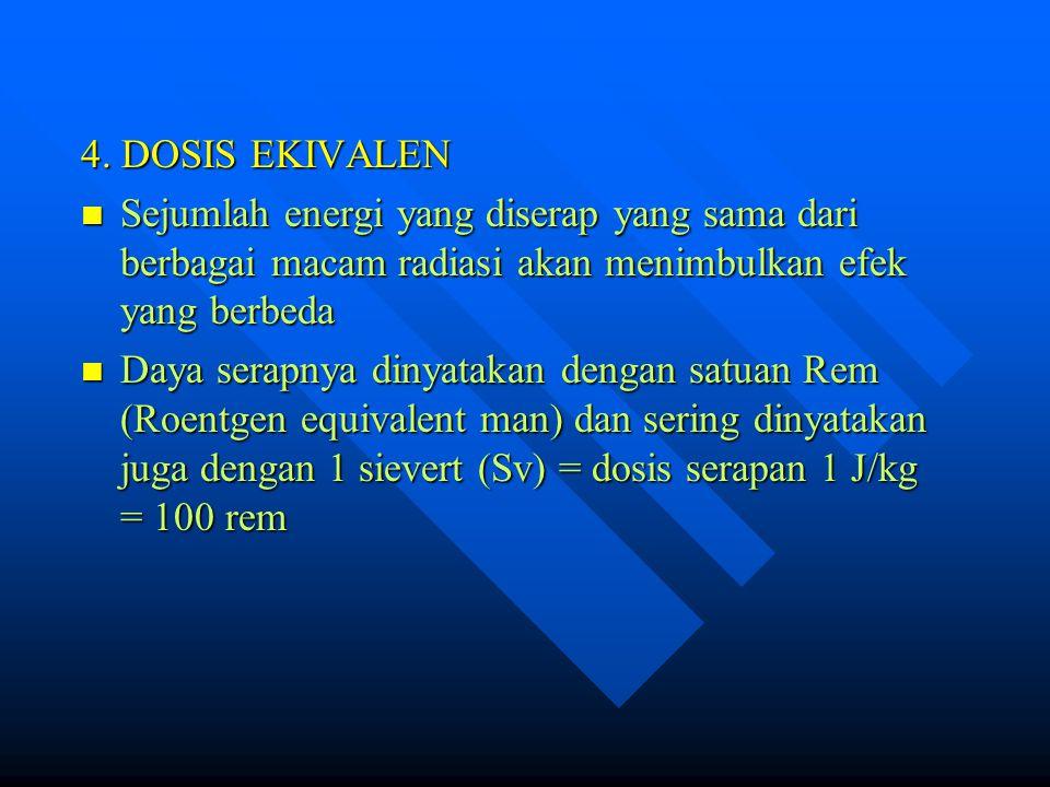 4. DOSIS EKIVALEN Sejumlah energi yang diserap yang sama dari berbagai macam radiasi akan menimbulkan efek yang berbeda.
