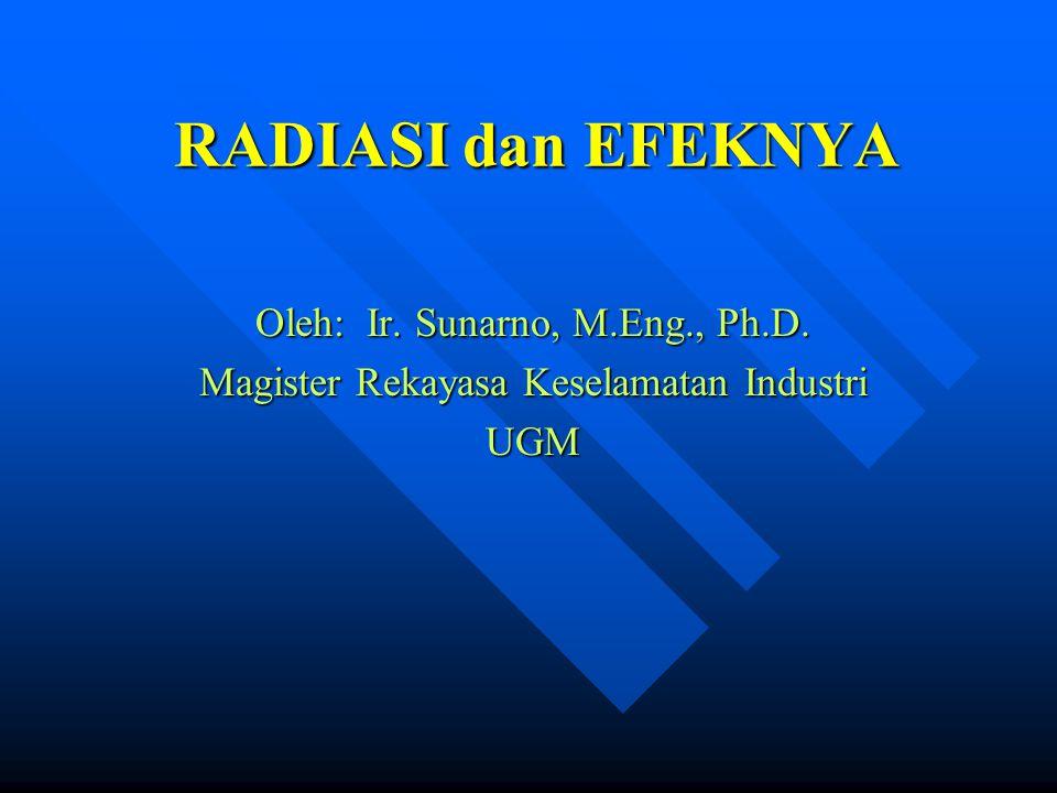 RADIASI dan EFEKNYA Oleh: Ir. Sunarno, M.Eng., Ph.D.
