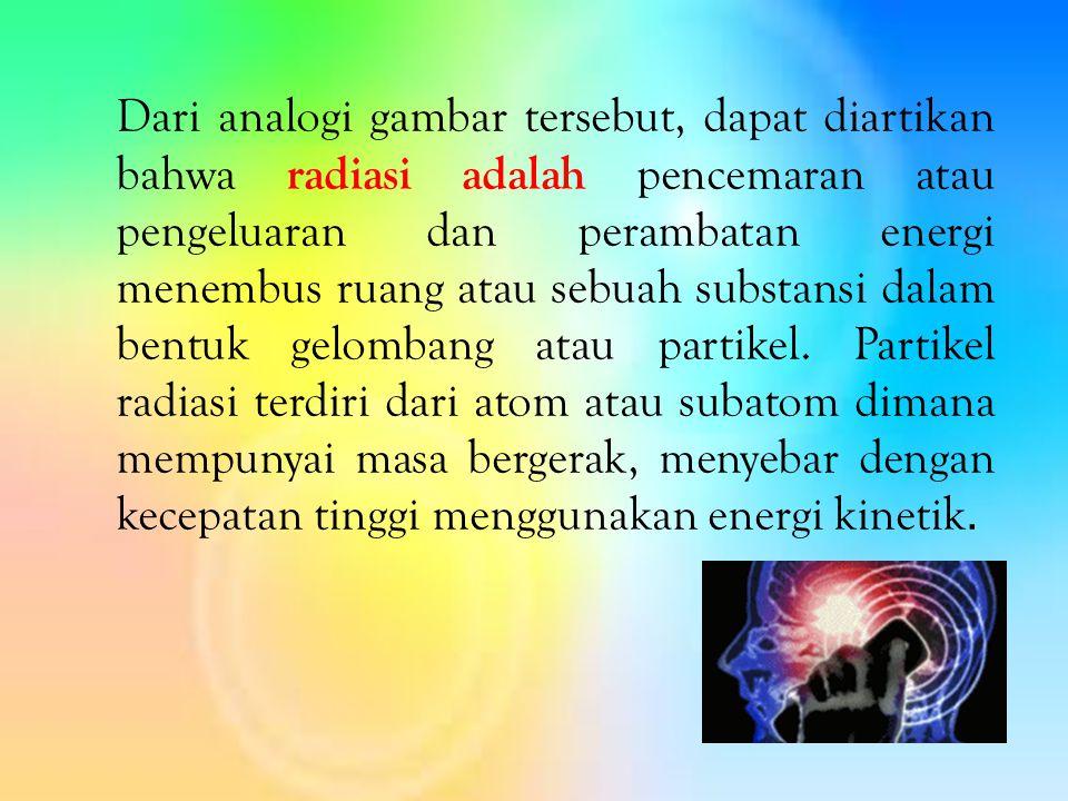 Dari analogi gambar tersebut, dapat diartikan bahwa radiasi adalah pencemaran atau pengeluaran dan perambatan energi menembus ruang atau sebuah substansi dalam bentuk gelombang atau partikel.