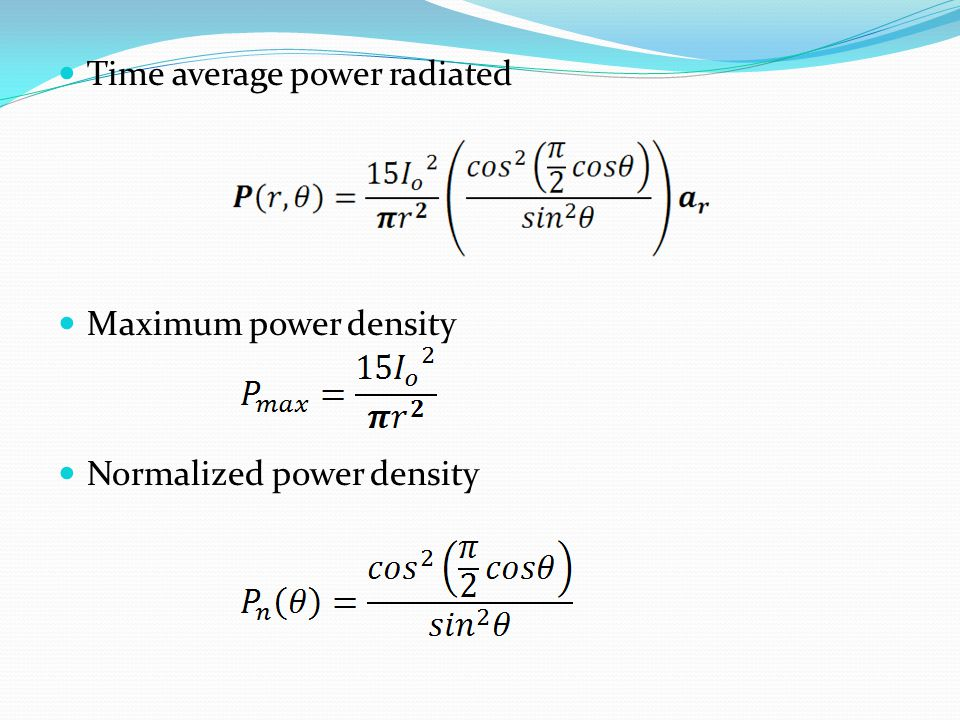 Time average power radiated