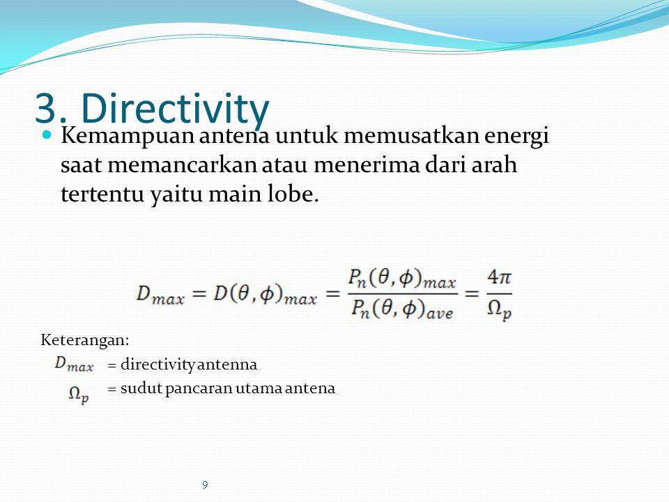 3. Directivity Kemampuan antena untuk memusatkan energi saat memancarkan atau menerima dari arah tertentu yaitu main lobe.