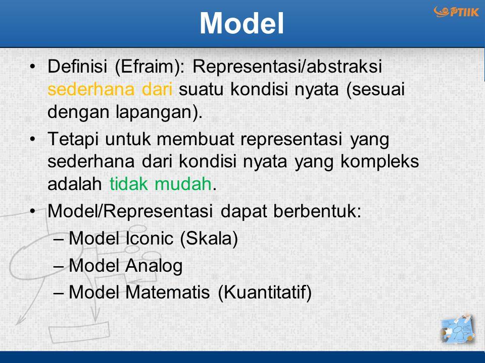 Model Definisi (Efraim): Representasi/abstraksi sederhana dari suatu kondisi nyata (sesuai dengan lapangan).