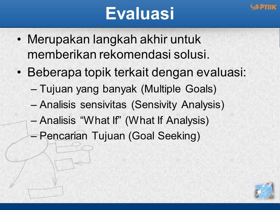 Evaluasi Merupakan langkah akhir untuk memberikan rekomendasi solusi.