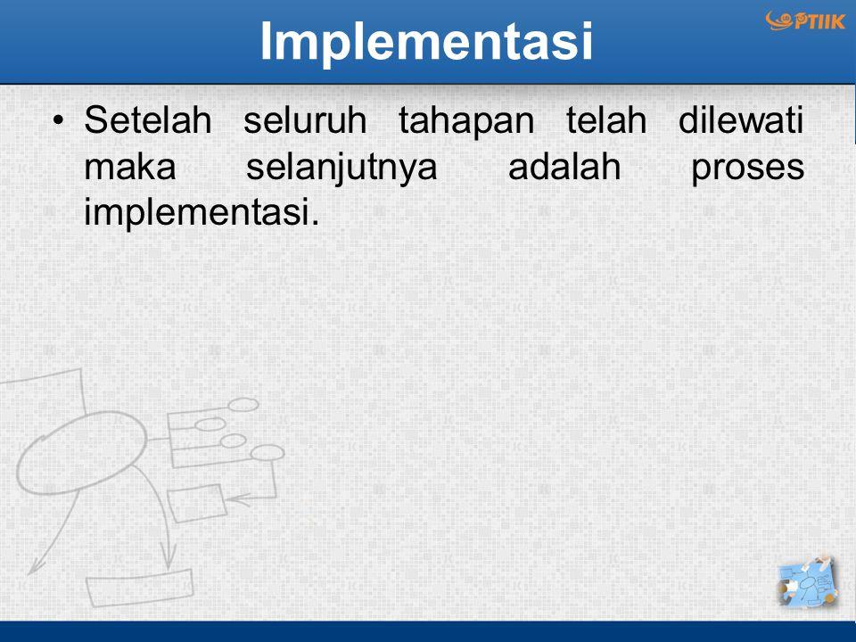 Implementasi Setelah seluruh tahapan telah dilewati maka selanjutnya adalah proses implementasi.