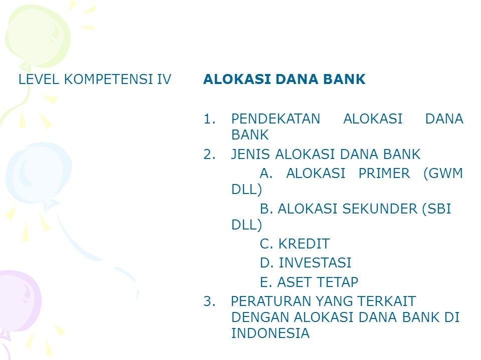 LEVEL KOMPETENSI IV ALOKASI DANA BANK. PENDEKATAN ALOKASI DANA BANK. JENIS ALOKASI DANA BANK. A. ALOKASI PRIMER (GWM DLL)