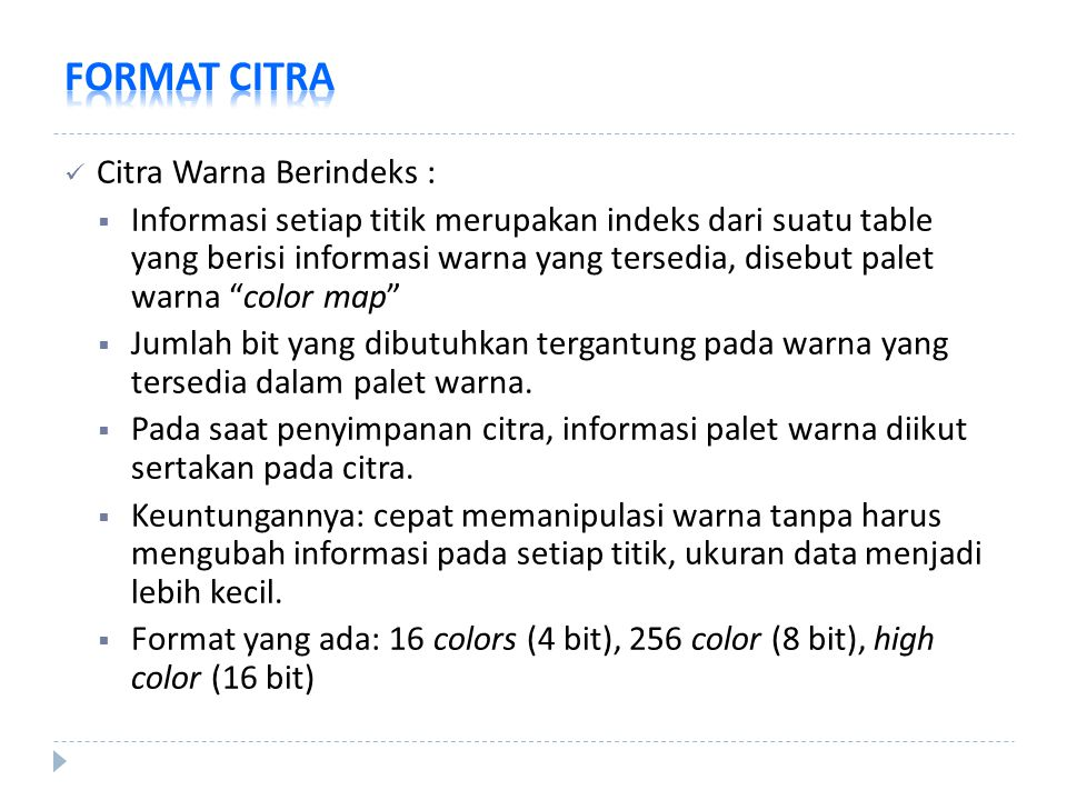 FORMAT CITRA Citra Warna Berindeks :