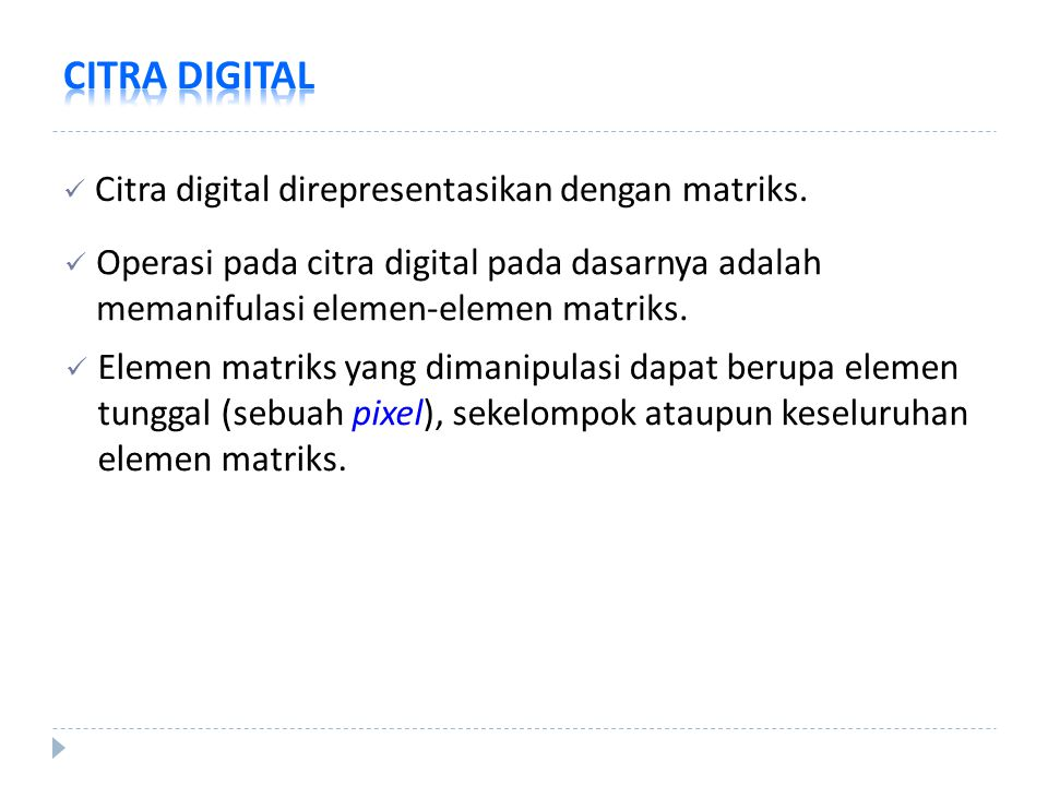 CITRA DIGITAL Citra digital direpresentasikan dengan matriks.