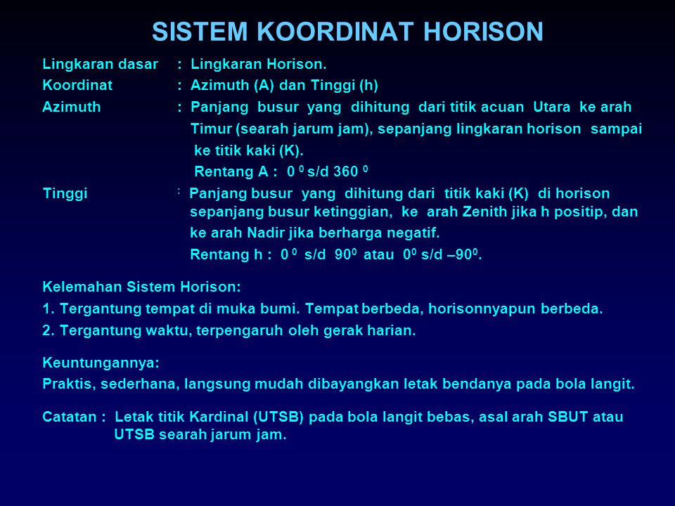 SISTEM KOORDINAT HORISON
