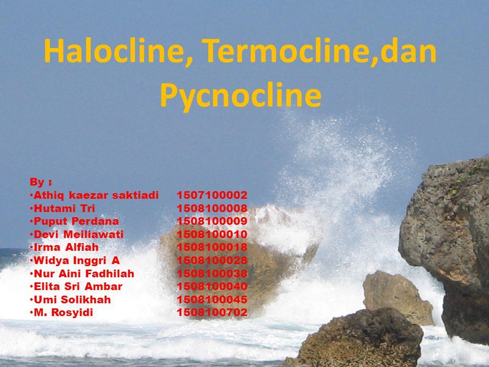 Halocline, Termocline,dan Pycnocline