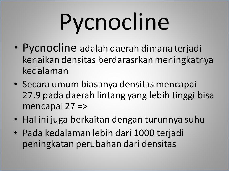 Pycnocline Pycnocline adalah daerah dimana terjadi kenaikan densitas berdarasrkan meningkatnya kedalaman.