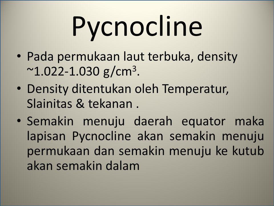 Pycnocline Pada permukaan laut terbuka, density ~1.022-1.030 g/cm3.
