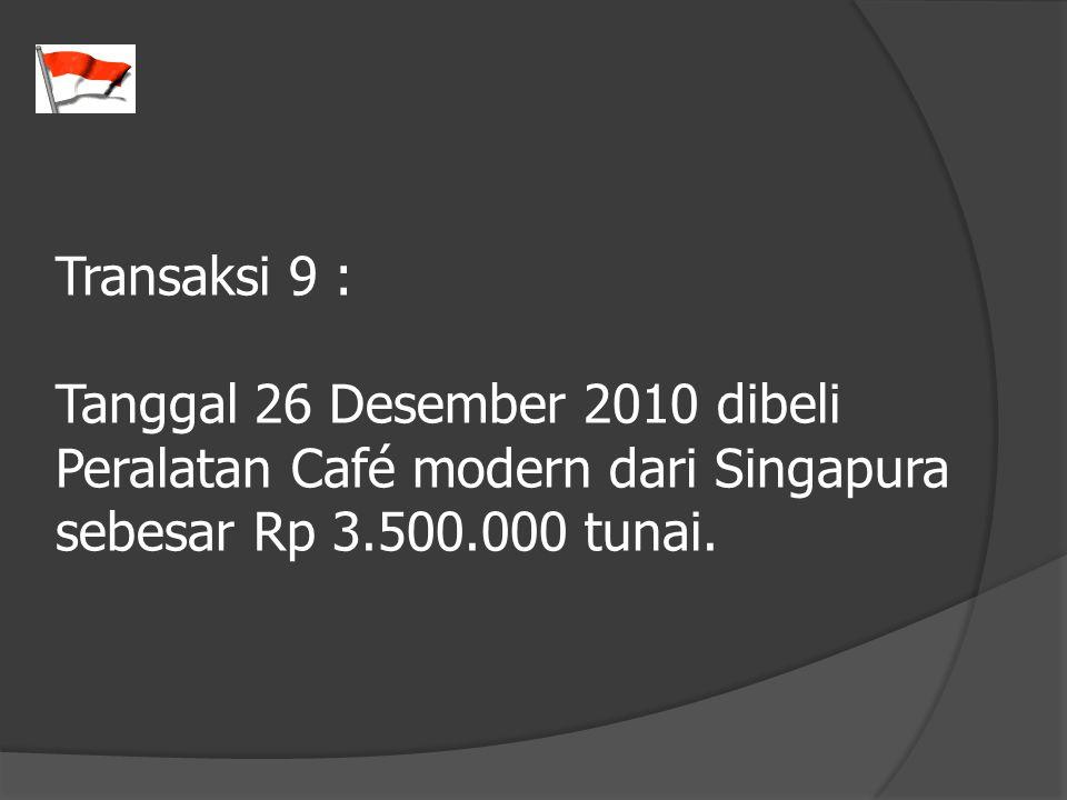 Transaksi 9 : Tanggal 26 Desember 2010 dibeli Peralatan Café modern dari Singapura sebesar Rp 3.500.000 tunai.