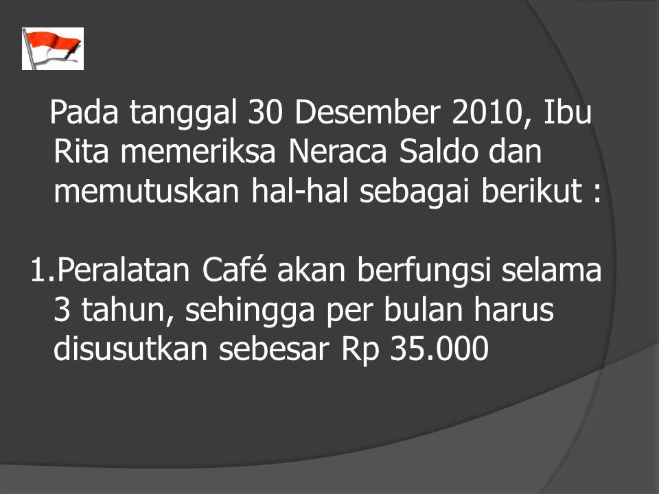 Pada tanggal 30 Desember 2010, Ibu Rita memeriksa Neraca Saldo dan memutuskan hal-hal sebagai berikut :