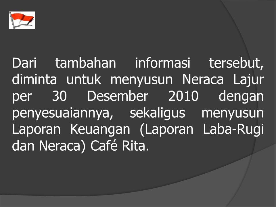 Dari tambahan informasi tersebut, diminta untuk menyusun Neraca Lajur per 30 Desember 2010 dengan penyesuaiannya, sekaligus menyusun Laporan Keuangan (Laporan Laba-Rugi dan Neraca) Café Rita.