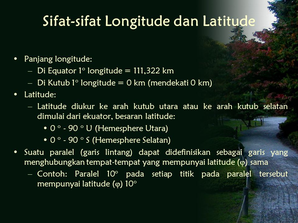 Sifat-sifat Longitude dan Latitude