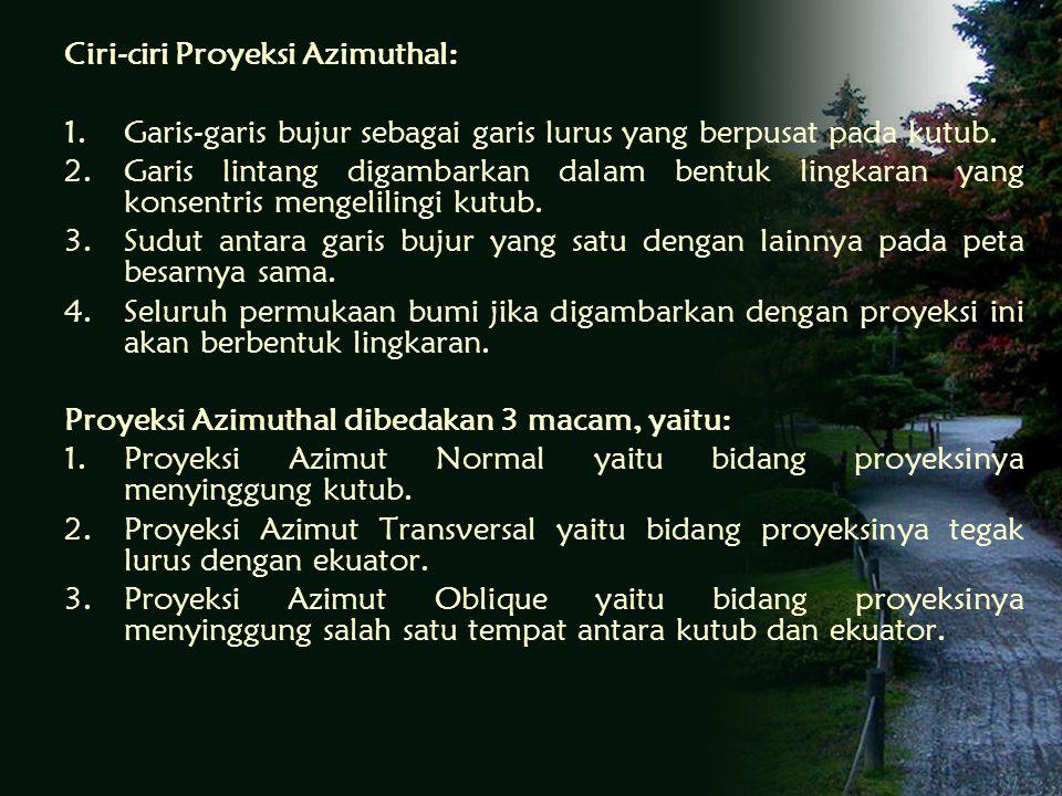 Ciri-ciri Proyeksi Azimuthal: