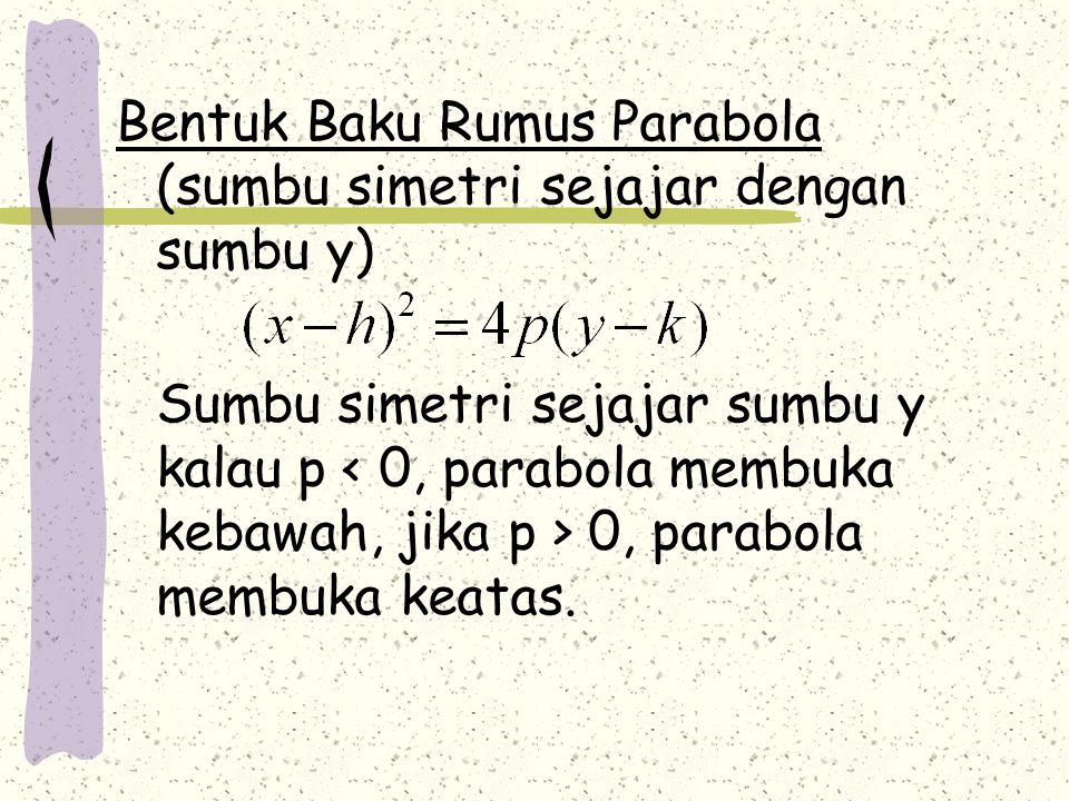 Bentuk Baku Rumus Parabola (sumbu simetri sejajar dengan sumbu y)