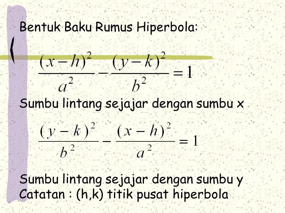 Bentuk Baku Rumus Hiperbola: Sumbu lintang sejajar dengan sumbu x Sumbu lintang sejajar dengan sumbu y Catatan : (h,k) titik pusat hiperbola