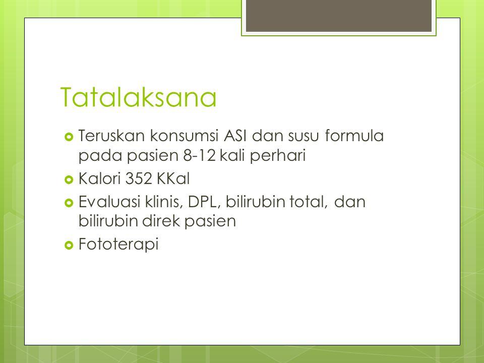 Tatalaksana Teruskan konsumsi ASI dan susu formula pada pasien 8-12 kali perhari. Kalori 352 KKal.