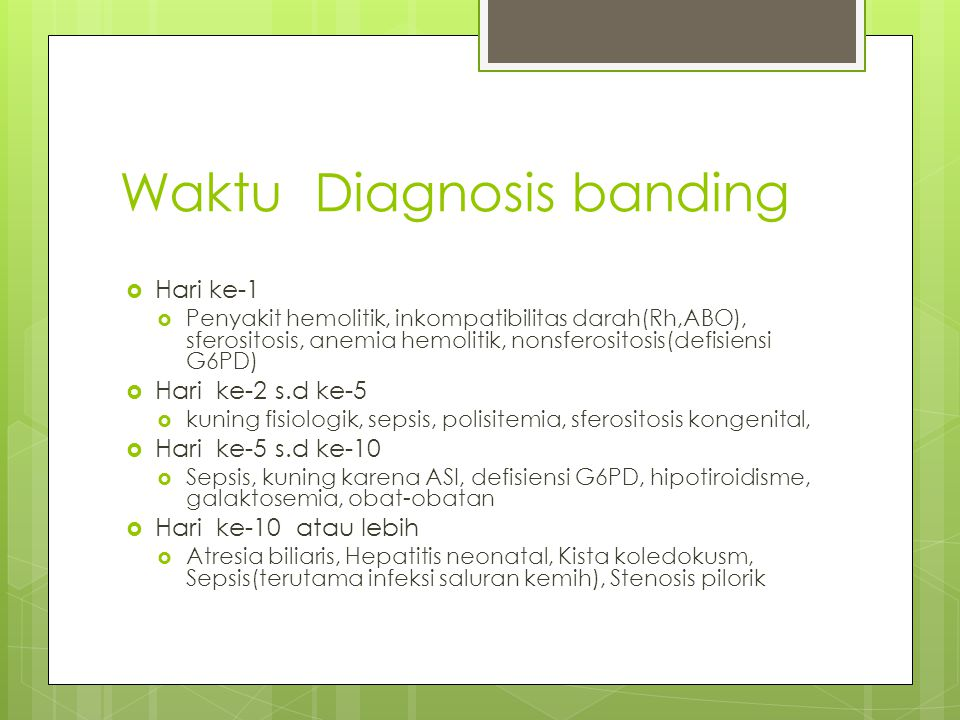 Waktu Diagnosis banding