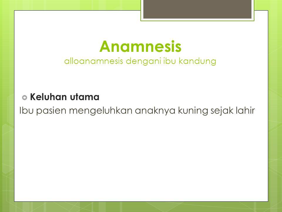 Anamnesis alloanamnesis dengani ibu kandung