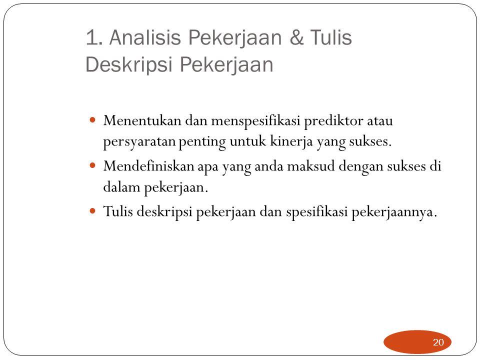 1. Analisis Pekerjaan & Tulis Deskripsi Pekerjaan