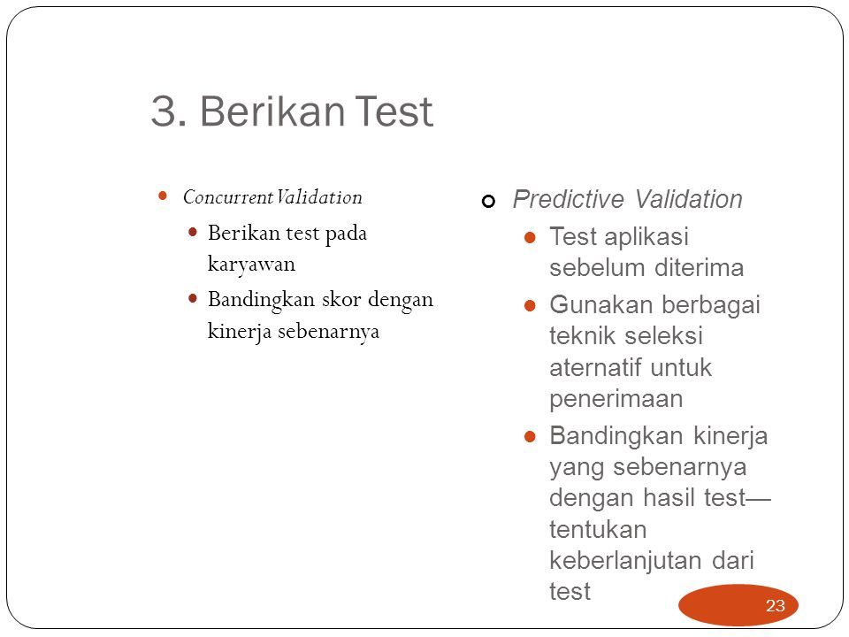 3. Berikan Test Concurrent Validation Predictive Validation