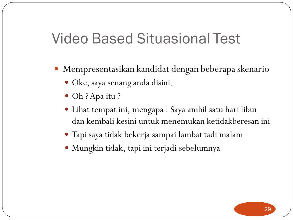 Video Based Situasional Test