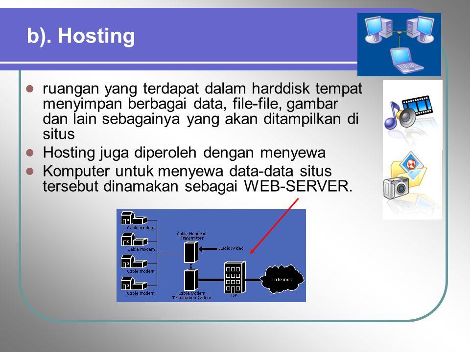b). Hosting ruangan yang terdapat dalam harddisk tempat menyimpan berbagai data, file-file, gambar dan lain sebagainya yang akan ditampilkan di situs.