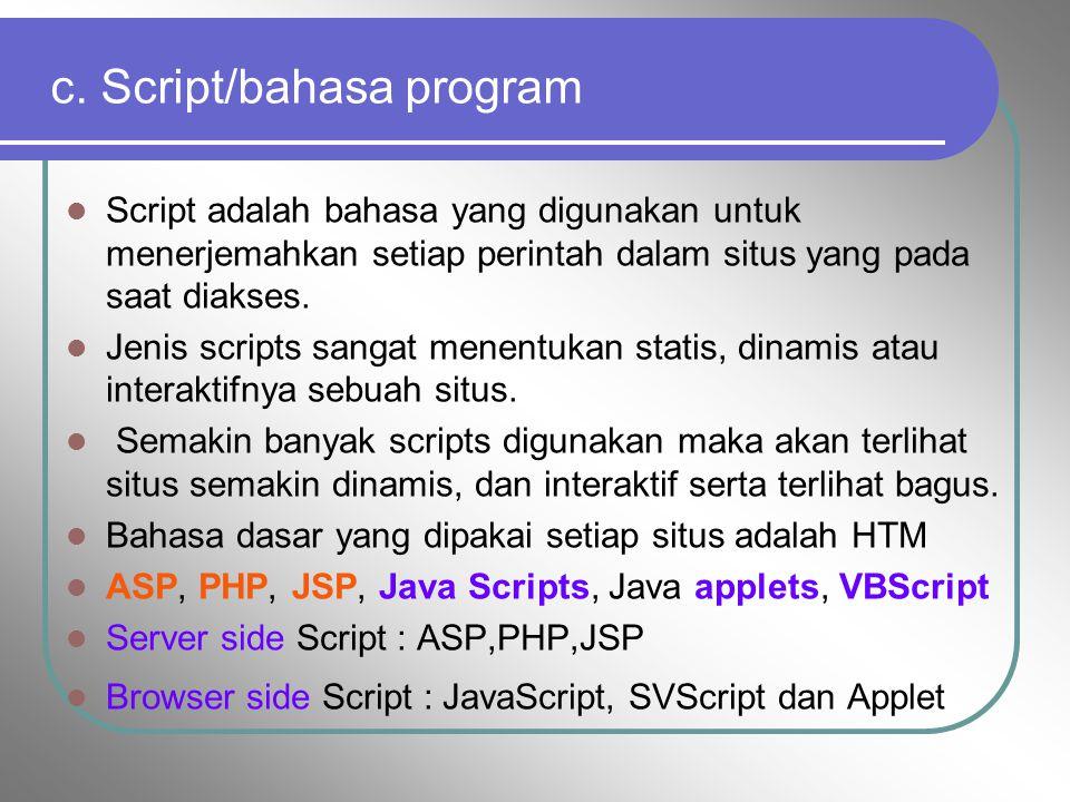 c. Script/bahasa program